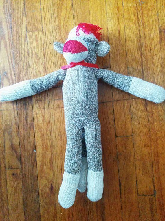 Good ol sock monkey! $14 Hey, I found this really awesome Etsy listing at https://www.etsy.com/listing/190423318/vintage-handmade-sock-monkey-stuffed