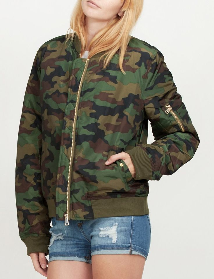 LE3NO PREMIUM Womens Padded Camouflage Flight Bomber Jacket with Pockets