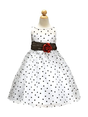 Polka dot spot black and white flower girl special occasion dress: Amazon.co.uk: Clothing