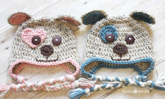 Repeat Crafter Me: Crochet Puppy Hat Pattern Used 10 and 8 ch for ears instead and do regular dc beanie