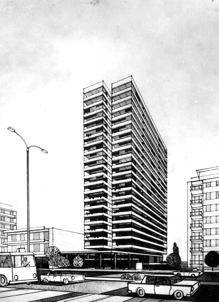 """""""PRESIDENT"""" HOTEL CLASS A ON KIFISSIAS AVENUE IN AMPELOKIPI, ATHENS, 1974  DRAWING"""