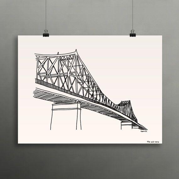 Nouveau+Affiche+18x24+sérigraphié+Pont+par+Darveelicious+sur+Etsy