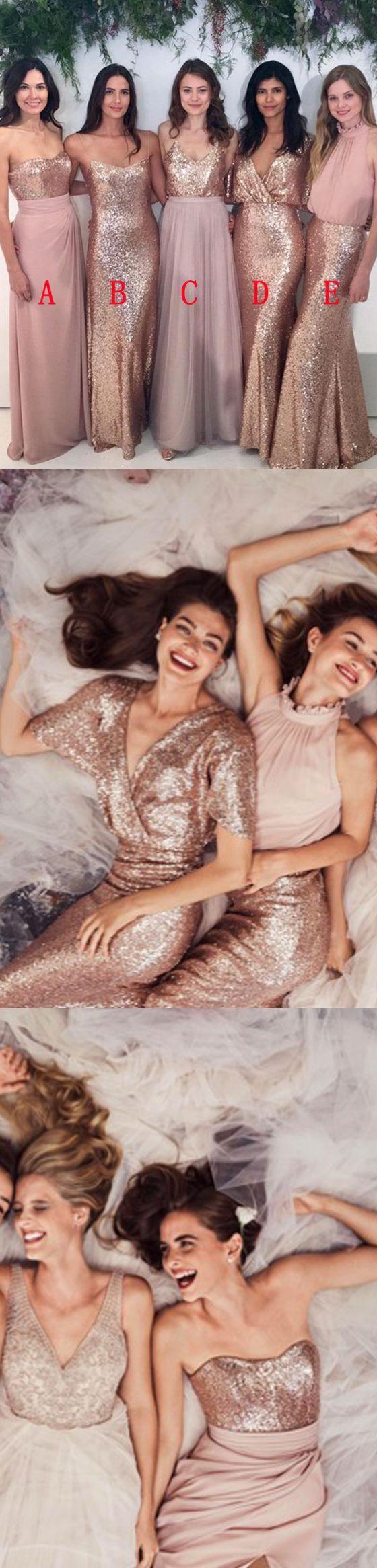Affordable Mismatched Sequin Charming Long Bridesmaid Dresses, BG51563