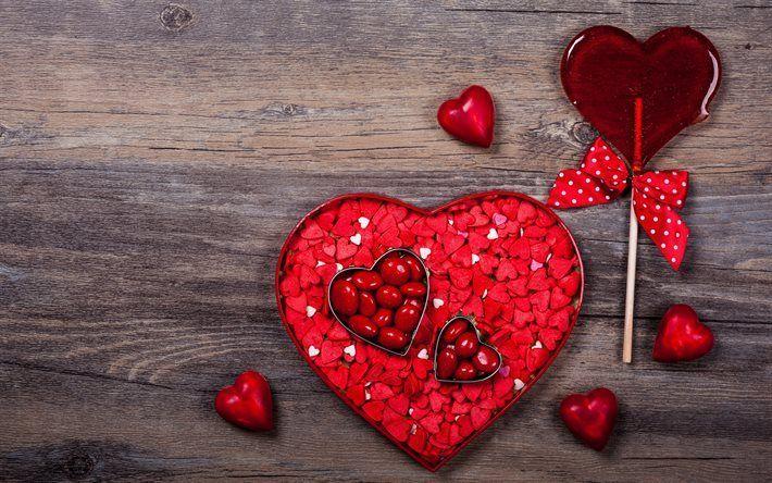 Scarica sfondi Il Giorno di san valentino, scatola, cuore, rosso, caramella, caramella cuore