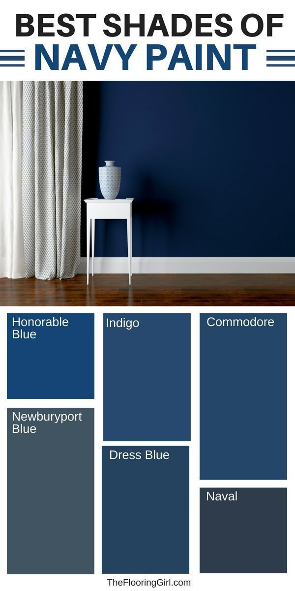 Best shades of navy paint and clever ways to decorate with navy for a fresh and modern look. The navy trend is so hot right now and it goes so well with both dark and light hardwood floors, as well as white trim. Interior Paint Colors, Paint Colors For Home, House Colors, Navy Paint Colors, Navy Blue Paints, Wall Colours, Neutral Paint, Gray Paint, Navy Blue Color