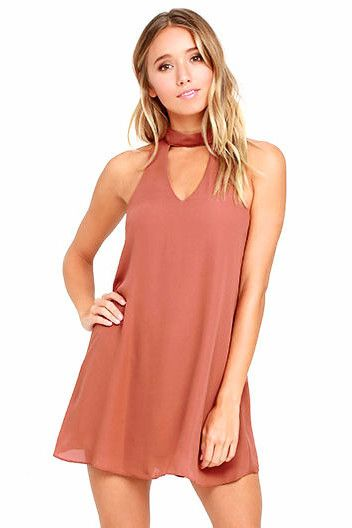 Shift & Shout Choker Cutout Shift Dress
