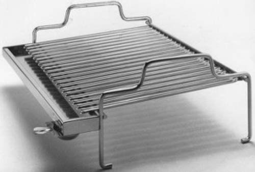 Griglia per barbecue in acciaio inox 18/10, con raccoglitore di grassi e piedini. 2 formati: 35 x 42 cm e 40 x 52 cm.