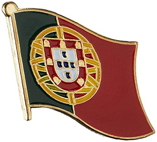 """US Flag Store Portugal Lapel Pin:   The Portugal flag lapel pin is a great way to show your support for your country. Our pins cost less than our competitors, but are equal or higher quality. This Portugal Flag lapel pin has an all gold metal lacquered design with a metal clutch pin. Baked on enamel finish. Size approx 3/4"""" x 1/2""""."""