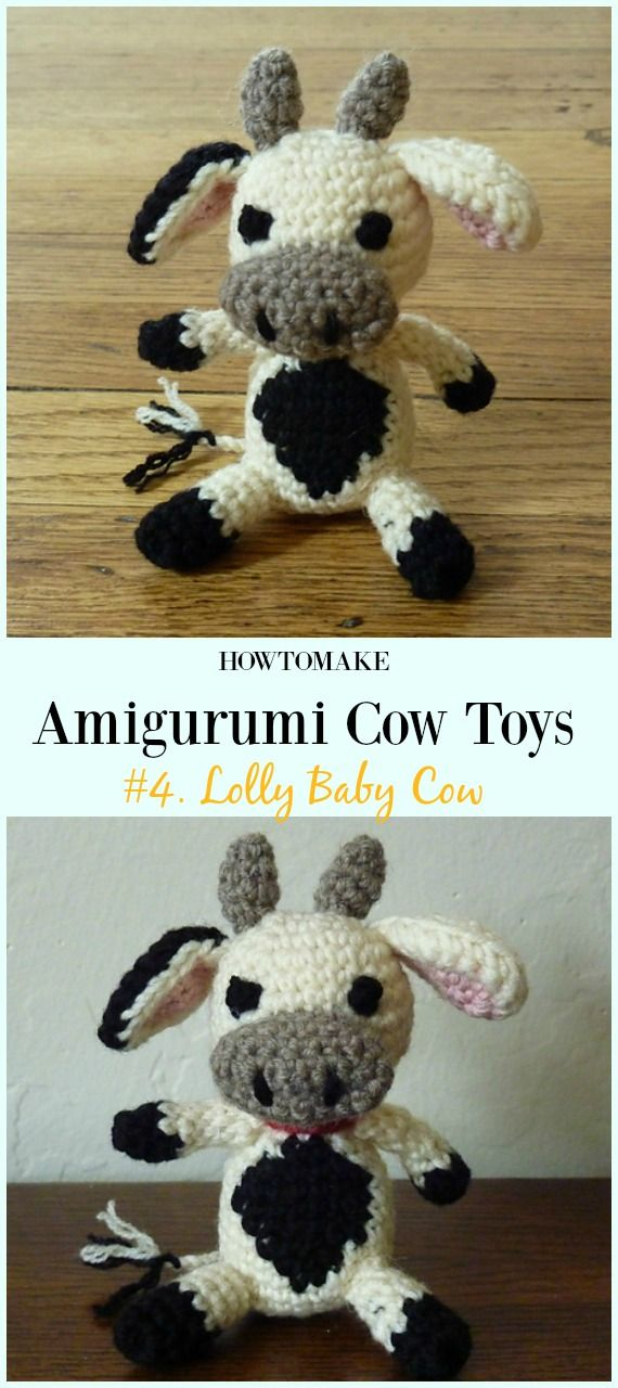 6 Super Cute Crocheted Amigurumi Cow Free Patterns - DIY 4 EVER | 1280x570