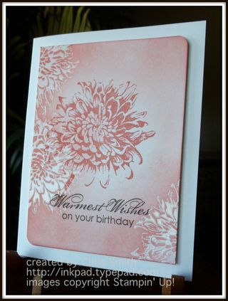 handmade card ... monochromatic Calypso Coral ... clear embossed the flower on white ... sponged on color ... stamped one big flower on top ... lovely ... Stampin' Up!