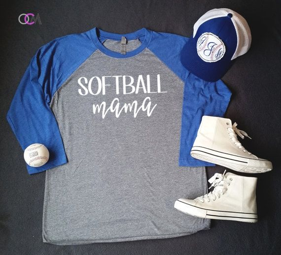 Softball Mama Raglan Softball Mom Shirt by 1OneCraftyMomma on Etsy