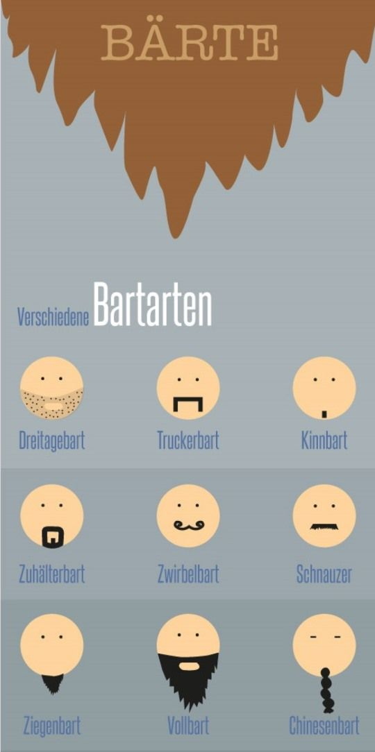 What I always wanted to know: what are all the different types of beards called in German? :)