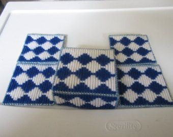 BLUE & WHITE JEWISH Holiday Plastic canvas coasters with matching box