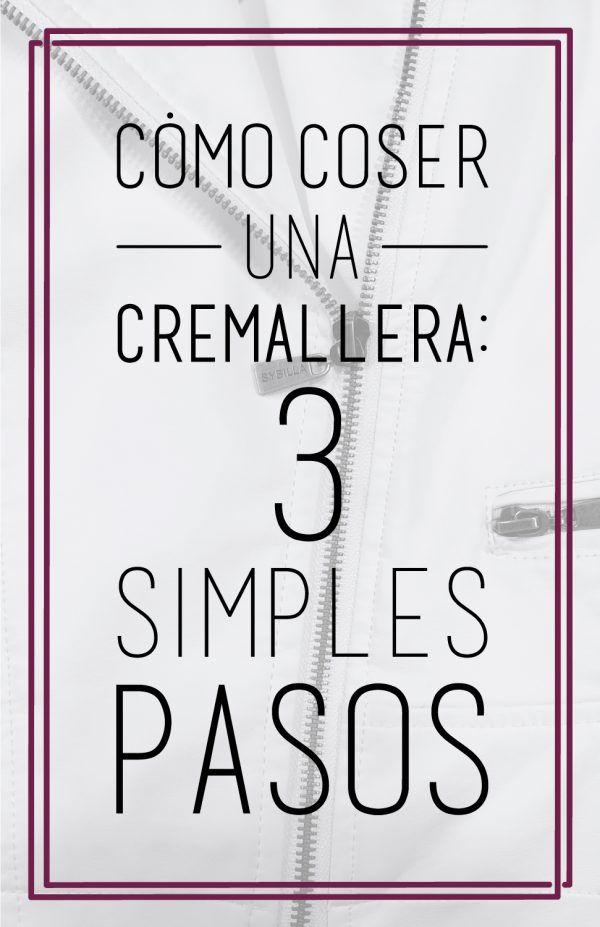 Cómo coser una cremallera en 3 simples pasos. | patrones | Pinterest ...