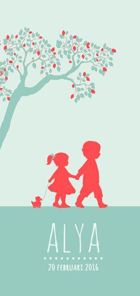 Geboortekaartje Alya - Pimpelpluis - https://www.facebook.com/pages/Pimpelpluis/188675421305550?ref=hl (# meisje - grote broer - eendje - boom - silhouet - lief - origineel)