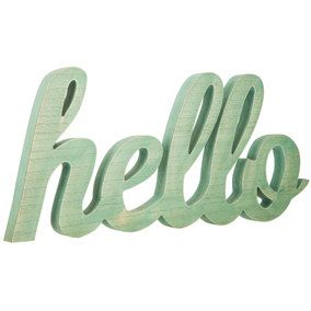 Turquoise Hello Word MDF Wall Decor