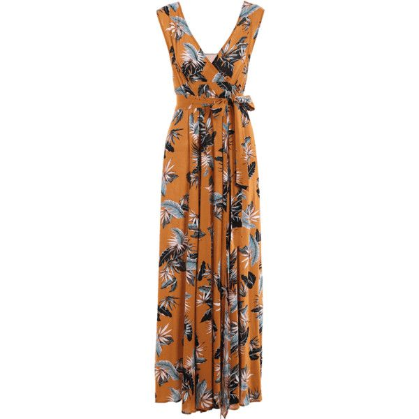 Self Tie High Slit Floral Maxi Surplice Dress ($25) ❤ liked on Polyvore featuring dresses