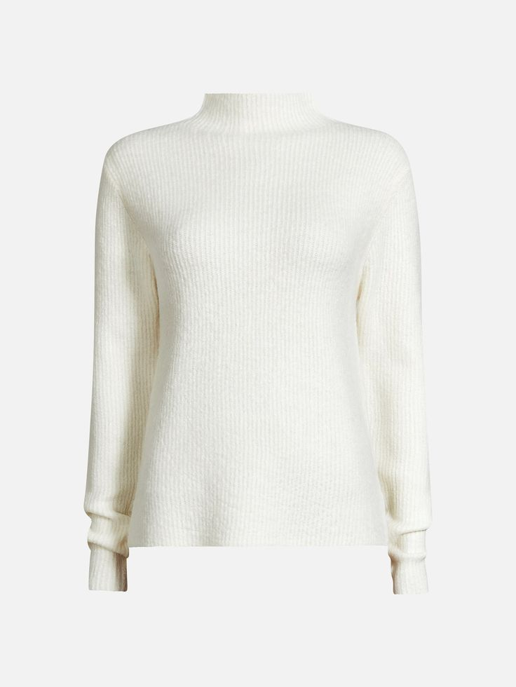 A high neck rib pullover crafted in soft acrylic yarn. Normal fit.  Offwhite