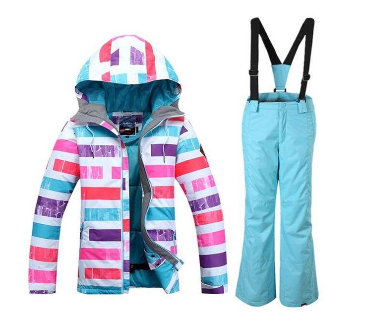125.10$  Watch now - New Style Girl Gsou Snow Band Ski Suit Windproof Waterproof Skiing Snowboard Jacket Pants Children Winter Warm Clothing Suit Set  #magazineonlinebeautiful