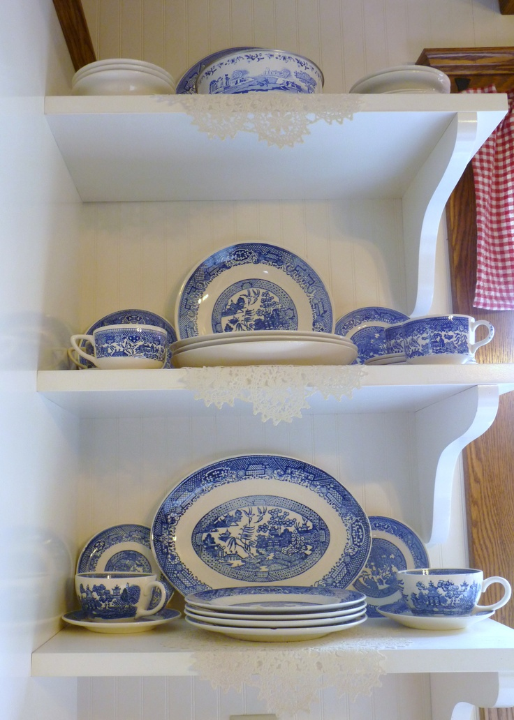 Open Shelving Against White Bead Board In My Farm House Kitchen Display My  Grandmau0027s Blue Willow