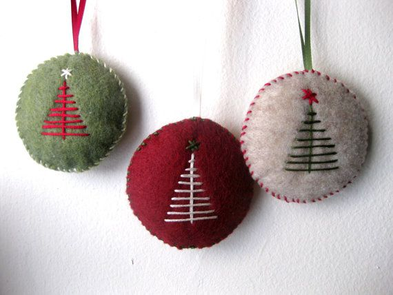 Christmas ornament set in felt   handmade felt by MakeCreateNYC, $13.00