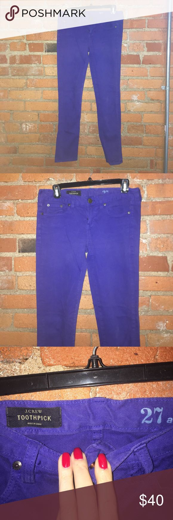 J.Crew blue royal blue toothpick ankle jeans 27 Excellent condition! Worn once. Look a little wrinkled in photo just from being folded up in my closet. Blue denim toothpick ankle style, size 27 J. Crew Jeans Ankle & Cropped