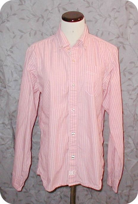 Red Camel Women's Pink White Stripe Button Down Long Sleeve Top Size L #RedCamel #ButtonDownShirt #CasualCareer