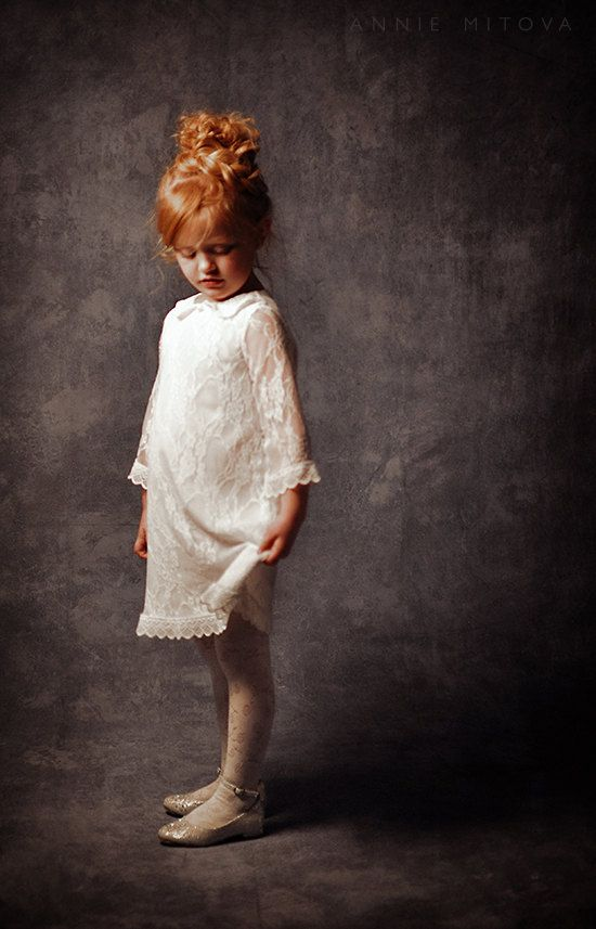 White Lace Flower Girl Dress, First Communion Dress, Lace Dress for girls and toddlers, White Christmas dress
