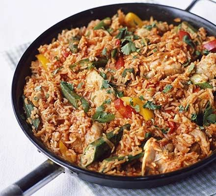 Jollof rice with chicken | BBC Good Food (other recipes include black-eyed peas, green beans or peas)