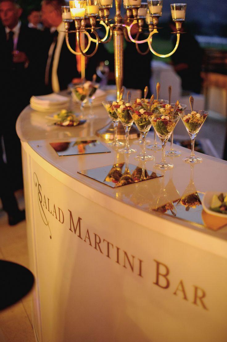 Creative twist on a martini. A salad martini bar. Perfect starters