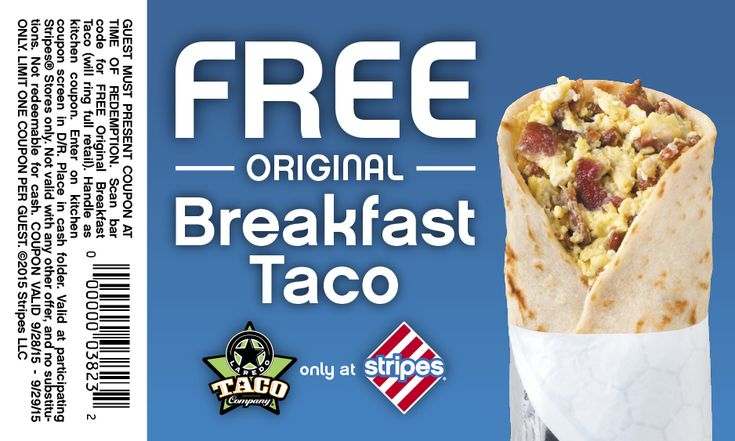 Pinned September 28th: Breakfast taco free at #Stripes gas stations #coupon via The #Coupons App