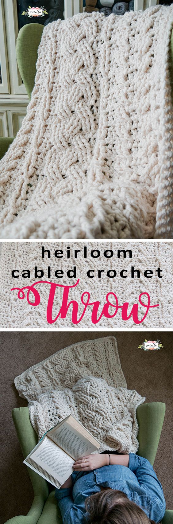 Crochet this cabled throw afghan blanket with a stitch by stitch video tutorial and FREE crochet pattern!