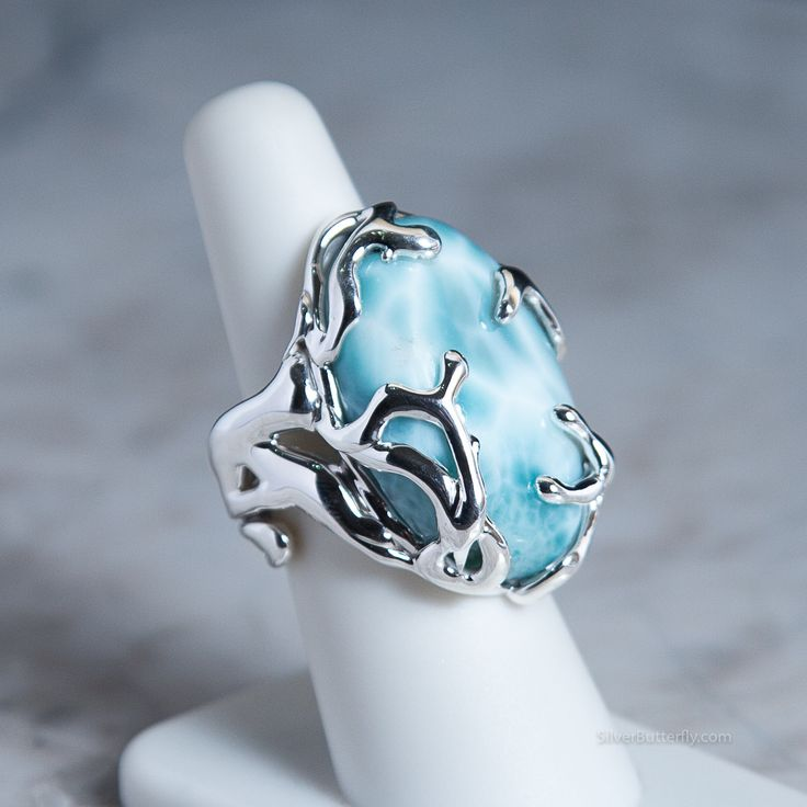 Spirit of the Water - Larimar Ring - Luxury designer rings, hand crafted to highlight the beauty of each stone.