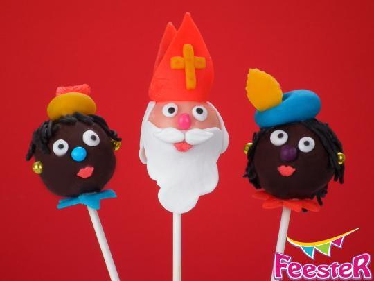 Sinterklaas en zwarte piet cake pops