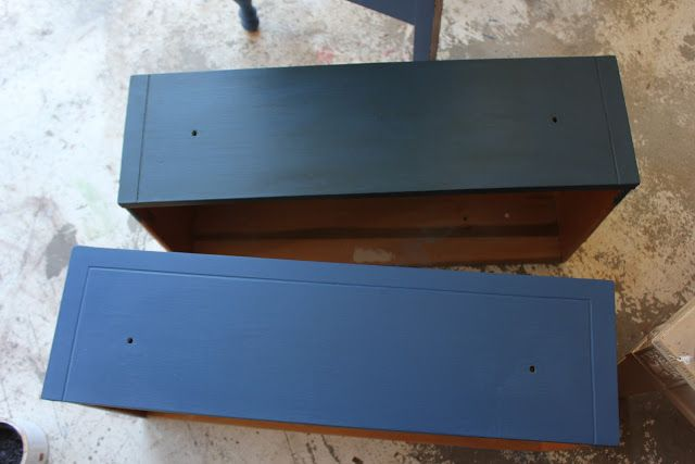 Napoleonic Blue with dark wax (top) and without (bottom)