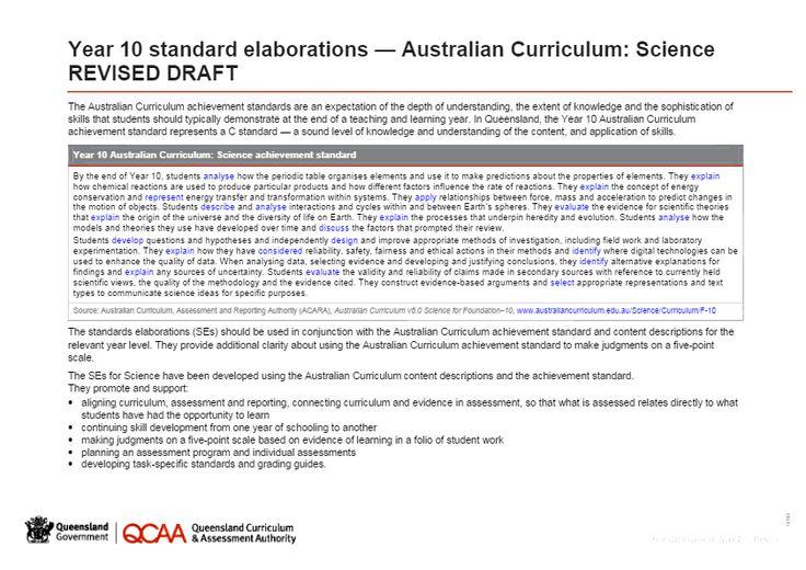 Year 10 Science standard elaborations