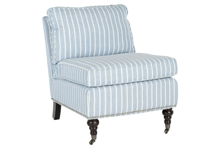 Love this sky blue stripe chair: Chairconstruct Materials, Living Rooms, Birches Woods, Slippers Chairs, Blue, Front Rooms, Club Chairs, Nailhead Trim, Accent Chairs