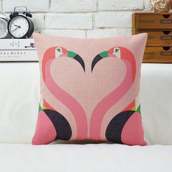 Kissing Flamingo Pillow
