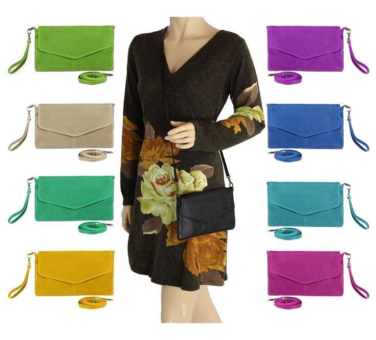 Details zu ITALy DAMEN LEDERTASCHE CLUTCH Nappa Schmucktasche Schultertasche Umhängetasche – Italyshop24.com
