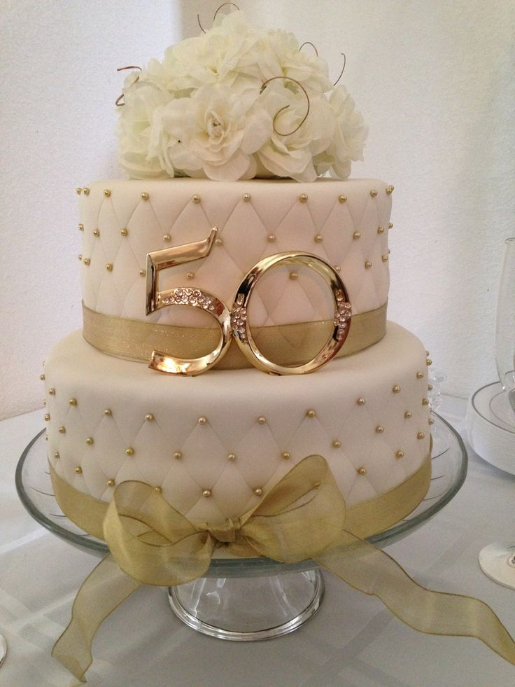 50th Anniversary Cake - For all your Golden Anniversary cake decorating supplies, please visit http://www.craftcompany.co.uk/occasions/anniversary/golden-wedding-anniversary.html
