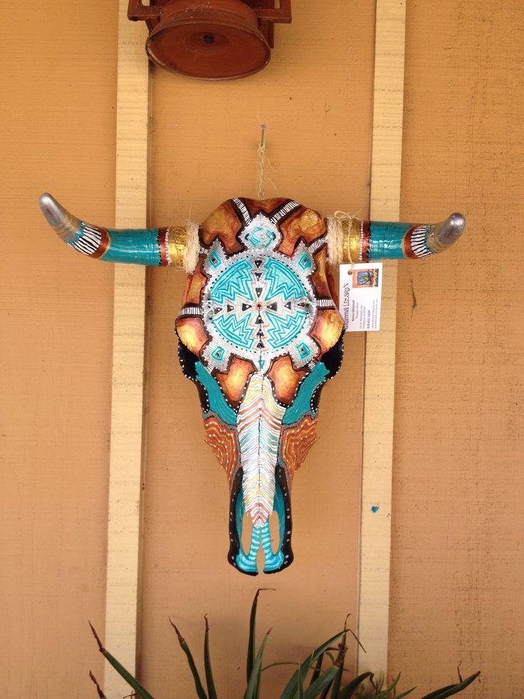 Hand painted steer skulls