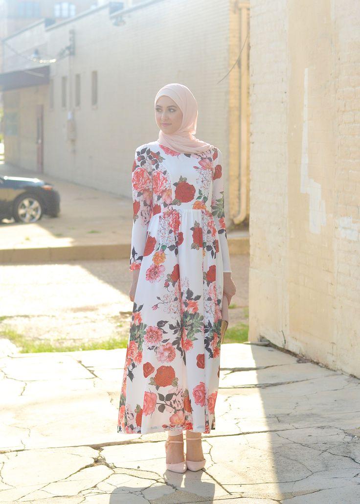 Floral Maxi Dress. Hijab Fashion. Withloveleena