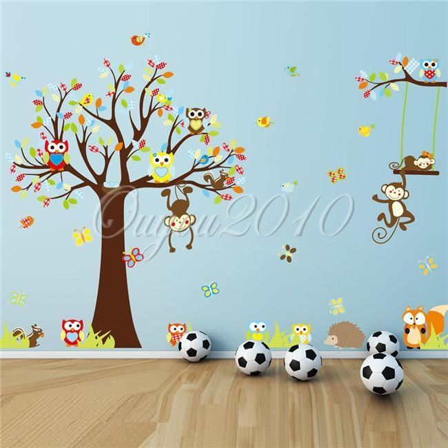 Cute Animals Monkey Owl Tree Removable Kids Wall Sticker Decal Nursery Decor New
