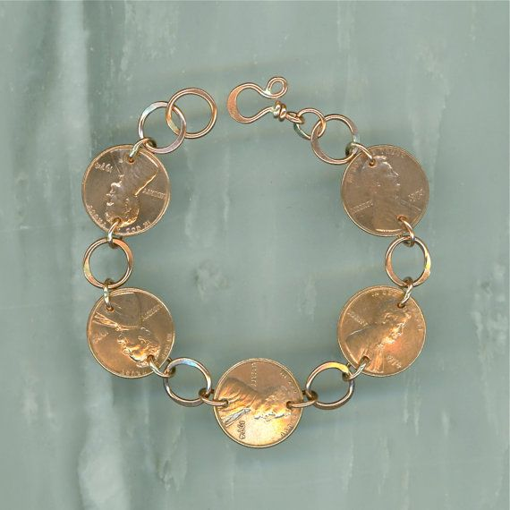 1974 Penny Coin Bracelet 40th Anniversary Gift Jewelry Birthday Women
