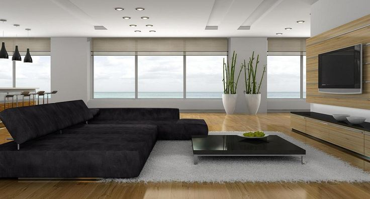 Enchanting  Modern Design In Living Room With Gray Sofa Bed Plus Low Table On White Fur Rug Including Vases Beside Wide Glass Window View Ocean And Tv Wall Mount Modern Design Can Apply For Many Types of Residence Interior Design http://seekayem.com