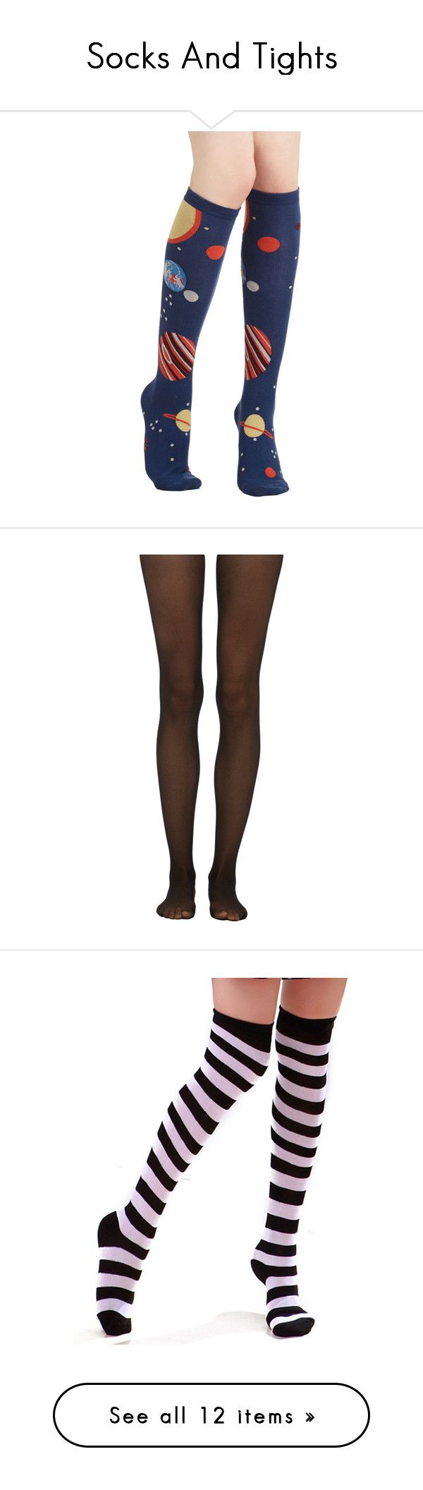 """Socks And Tights"" by taebae13 ❤ liked on Polyvore featuring intimates, hosiery, socks, blue, tights, galaxy, space, foundation, knee-high sock and blue knee socks"