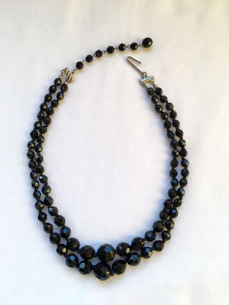 VINTAGE BLACK GLASS BEAD NECKLACE MADE IN AUSTRIA FACETED BEADS DOUBLE STRAND #Unbranded #StrandString