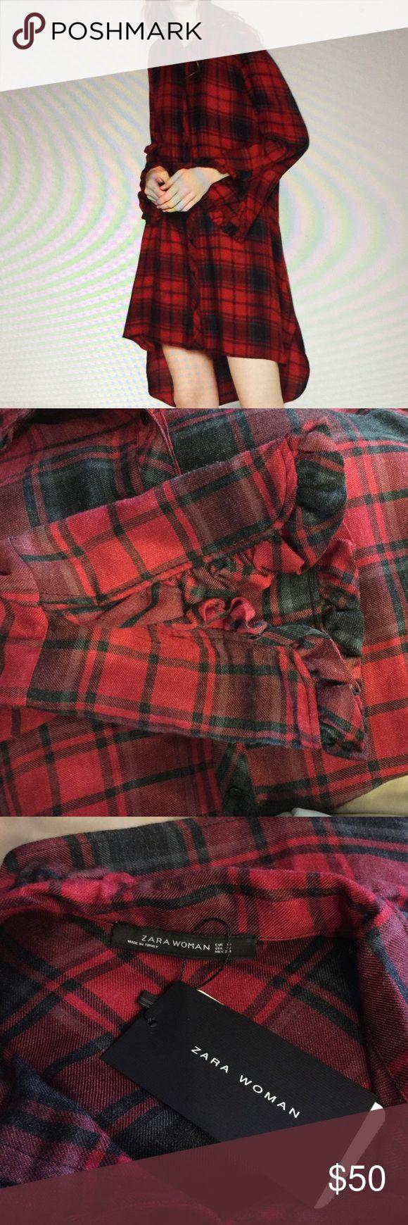 Selling this Zara checkered tunic dress with frills. Size M on Poshmark! My username is: wildtimetoys. #shopmycloset #poshmark #fashion #shopping #style #forsale #Zara #Tops
