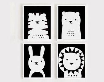 Art print download kwekerij Art Set van 4 dier door ARTsopoomc