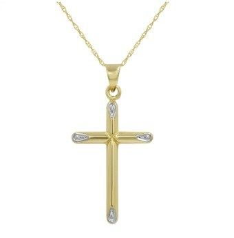 Amanda Rose Collection 14k Yellow Gold Cross Pendant Necklace On An 18 In. Chain.
